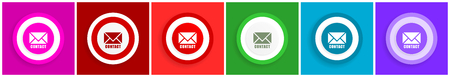 Email icon set, colorful flat design vector illustrations in 6 options for web design and mobile applications
