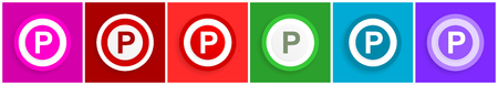 Parking icon set, colorful flat design vector illustrations in 6 options for web design and mobile applications