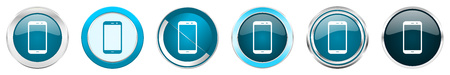 Smartphone silver metallic chrome border icons in 6 options, set of web blue round buttons isolated on white background