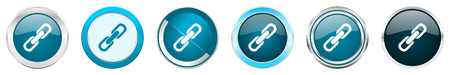 Link silver metallic chrome border icons in 6 options, set of web blue round buttons isolated on white background