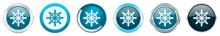 Ship wheel silver metallic chrome border icons in 6 options, set of web blue round buttons isolated on white background