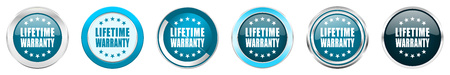 Lifetime warranty silver metallic chrome border icons in 6 options, set of web blue round buttons isolated on white background