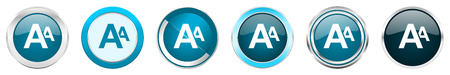 Alphabet silver metallic chrome border icons in 6 options, set of web blue round buttons isolated on white background