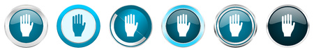 Stop silver metallic chrome border icons in 6 options, set of web blue round buttons isolated on white background
