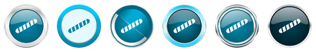 Baguette silver metallic chrome border icons in 6 options, set of web blue round buttons isolated on white background