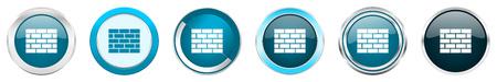 Firewall de borde cromado metálico plateado iconos en 6 opciones, conjunto de botones redondos azules web aislado sobre fondo blanco.