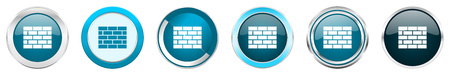 Firewall silver metallic chrome border icons in 6 options, set of web blue round buttons isolated on white background