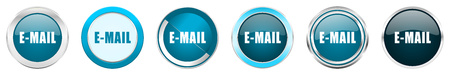 Email silver metallic chrome border icons in 6 options, set of web blue round buttons isolated on white background