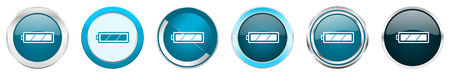 Battery silver metallic chrome border icons in 6 options, set of web blue round buttons isolated on white background Stock Photo