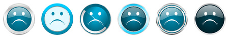 Cry silver metallic chrome border icons in 6 options, set of web blue round buttons isolated on white background