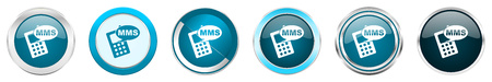 Mms silver metallic chrome border icons in 6 options, set of web blue round buttons isolated on white background Stock Photo - 122651851