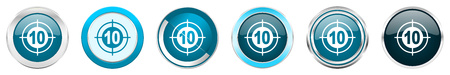 Target silver metallic chrome border icons in 6 options, set of web blue round buttons isolated on white background