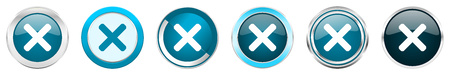 Cancel silver metallic chrome border icons in 6 options, set of web blue round buttons isolated on white background