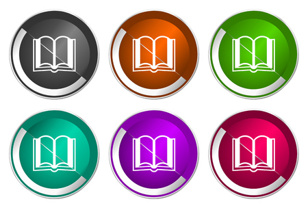 Book icon set, silver metallic web buttons