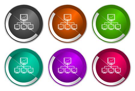 Network icon set, silver metallic web buttons