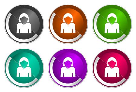 Profile avatar icon set, silver metallic web buttons