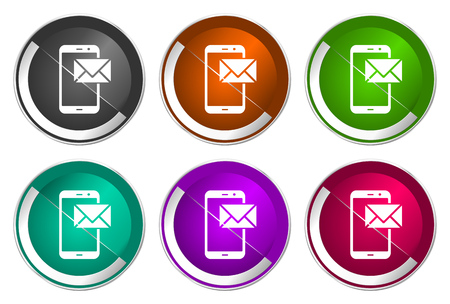 Mail icon set, silver metallic web buttons Stock Photo