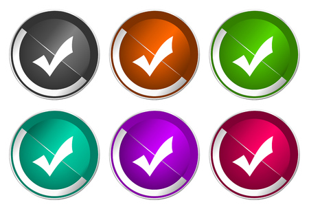Accept icon set, silver metallic web buttons