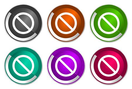 Access denied icon set, silver metallic web buttons