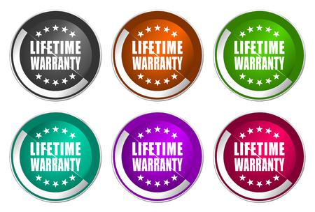Lifetime warranty icon set, silver metallic web buttons