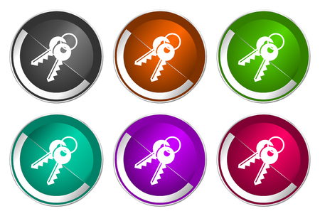 Keys icon set, silver metallic web buttons Banco de Imagens - 123908630