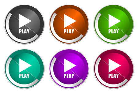 Play icon set, silver metallic web buttons Stock Photo