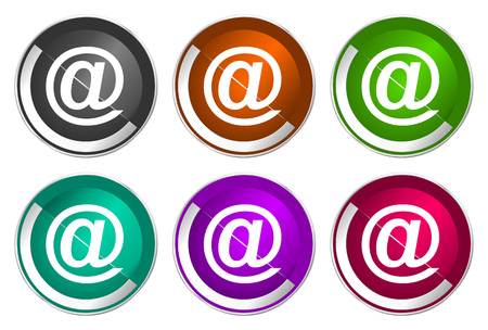 Email icon set, silver metallic web buttons