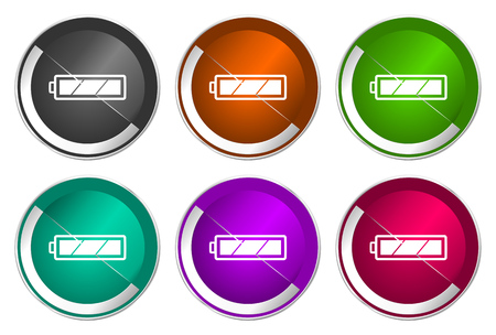 Battery icon set, silver metallic web buttons