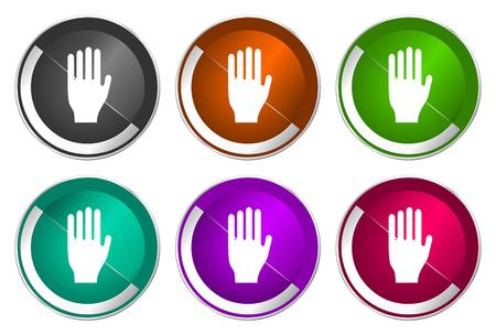 Stop icon set, silver metallic web buttons