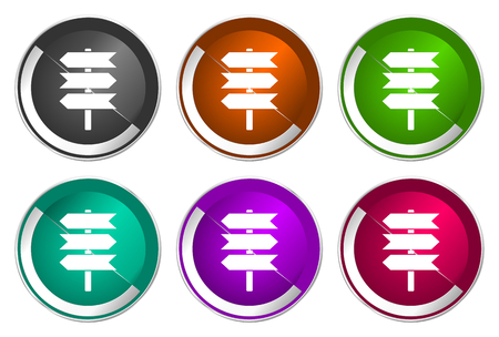 Signpost symbol, set of silver metallic round icons in six colors options isolated on white background, modern design vector illustration