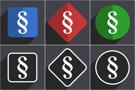 Paragraph set of flat design web icons in 6 options