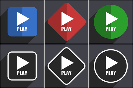 Play set of flat design web icons in 6 options