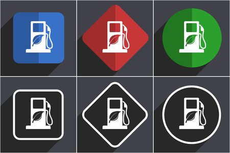 Biofuel set of flat design web icons in 6 options Stockfoto - 124114791