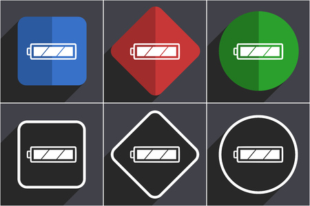Battery set of flat design web icons in 6 options Stock Photo - 124115821