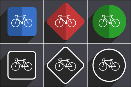 Bicycle set of flat design web icons in 6 options