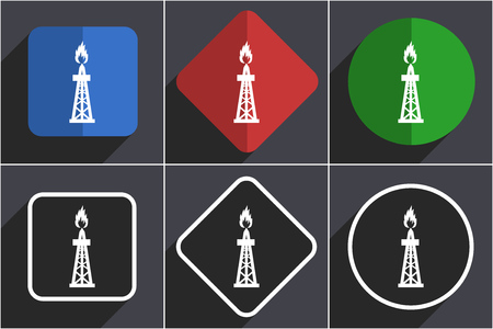 Gas set of flat design web icons in 6 options Stock Photo