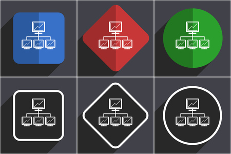 Network set of flat design web icons in 6 options Stock Photo