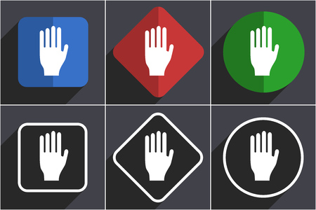 Stop set of flat design web icons in 6 options