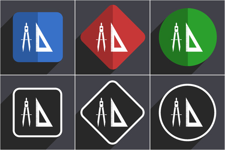 Learning set of flat design web icons in 6 options