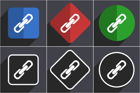Link set of flat design web icons in 6 options Stock Photo - 124115932