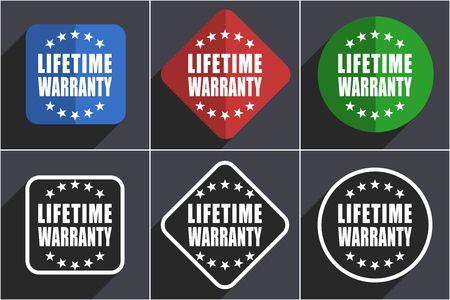 Lifetime warranty set of flat design web icons in 6 options
