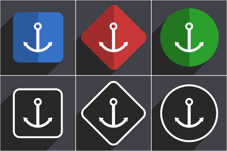 Anchor set of flat design web icons in 6 options