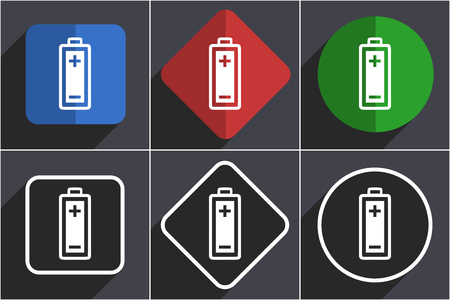 Battery set of flat design web icons in 6 options