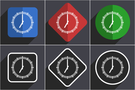 Time set of flat design web icons in 6 options