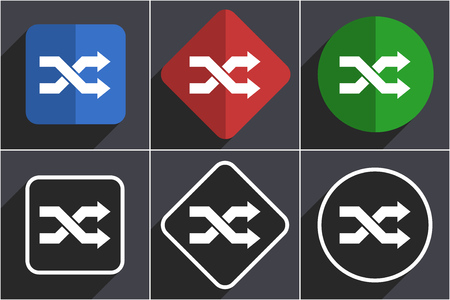 Aleatory set of flat design web icons in 6 options