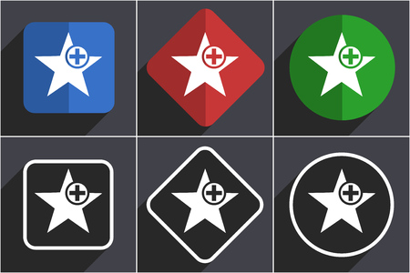 Star set of flat design web icons in 6 options Stock Photo