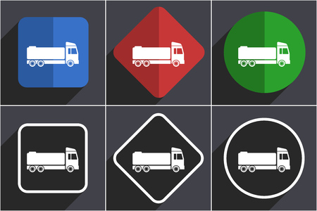Truck set of flat design web icons in 6 options