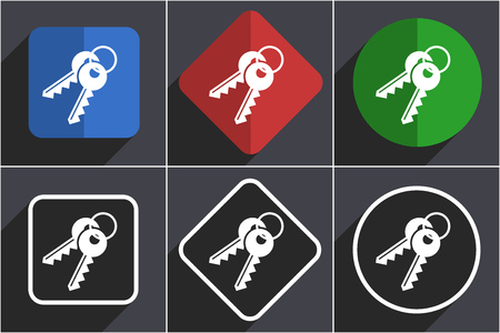 Keys set of flat design web icons in 6 options