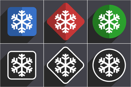 Snow set of flat design web icons in 6 options