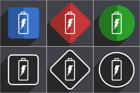 Battery set of flat design web icons in 6 options Stock Photo - 124116216